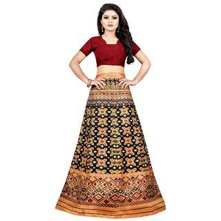 c01a6bfd1 76%off AIKA Womens Banglori Satin Printed Semi-Stitched Lehenga Choli (Dev  Lehenga Beige)