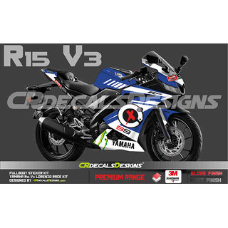YAMAHA R15 V3 Full Body Wrap/Custom Decals/Stickers LORENZO RACE EDITION  KIT- BLUE