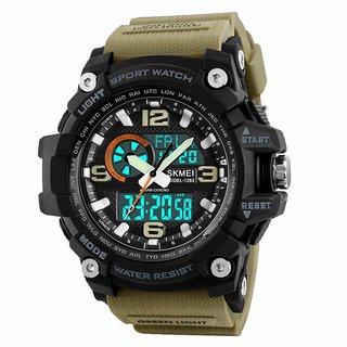 Military Series Analogue Digital Black Dial Khaki Strap Sports Watch