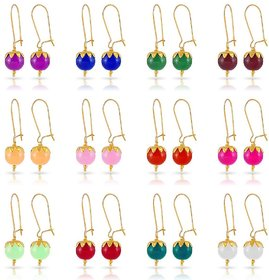 Ankur 12 pairs multicolour beads earring for women