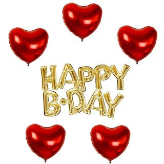 De-Ultimate Set Of HAPPY B.DAY Letters Foil Balloons, 5 Pcs Red Love Heart Design Balloons For Birthday party Decoration