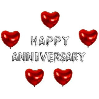 De-Ultimate Set Of HAPPY ANNIVERSARY Letters Foil Balloons 5 Pcs Red Love Heart Design Balloons For Anniversary party