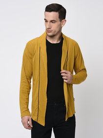 Rigo Mustard With Contrast Detailing Open Long Cardigan-Full For Men