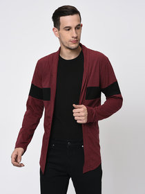 Rigo Black Maroon Melange Cut & Sew Open Long Cardigan-Full For Men