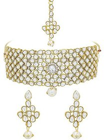 Ankur exotic gold plated kundan choker necklace set for women