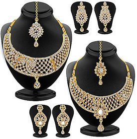 Ankur stunning gold plated diamond combo necklace set for women