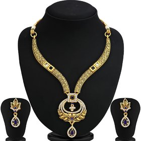 Ankur dazziling gold plated necklace set for women