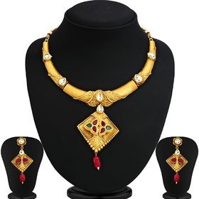 Ankur antique gold plated necklace set for women