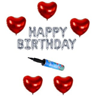 De-Ultimate Set Of Balloons Air Pump HAPPY BIRTHDAY Letters Foil Balloons 5 Pcs Love Heart Balloons For Birthday party