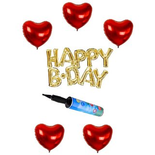 De-Ultimate Set Of Balloon Air Pump HAPPY B.DAY Letters Foil Balloons 5 Pcs Love Heart Balloons For Birthday party Decor
