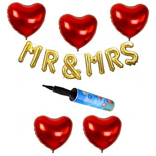 De-Ultimate Set Of Balloons Air Pump MR MRS Letters Foil Balloons 5 Pcs Love Heart Balloons For Anniversary party Decor