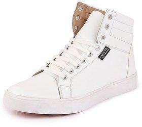 Fausto Men's White Ankle White Sneakers