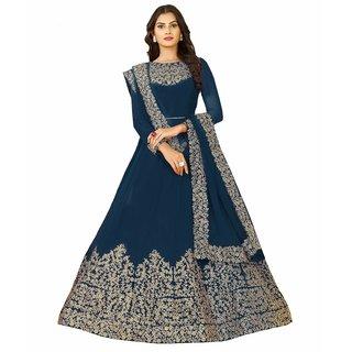 FFashion Designer Bollywood Rama Coding Georgette  Embroidered Anarkali Salwar Suit(Rama Coding)