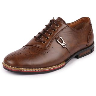 Fausto Men's Formal Welted Brogue Brown Shoes