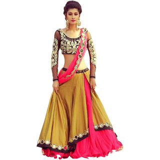 Florence Womens Bangalore Silk Stylish SemiStitched Lehenga Choli