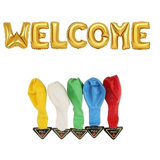 De-Ultimate Combo Of WELCOME Alphabets Foil Balloons 5 LED Flash Lights/Lamp Balloons For Anniversary Party Decorations