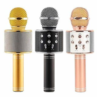 Wireless Bluetooth Microphone Recording Condenser Handheld Microphone Stand with Bluetooth Speaker Audio Recording for A