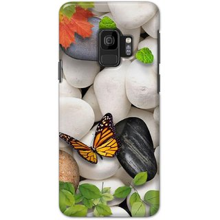 Ezellohub Printed Design Soft Silicon Mobile back cover for Samsung S9 - butterfly white stone