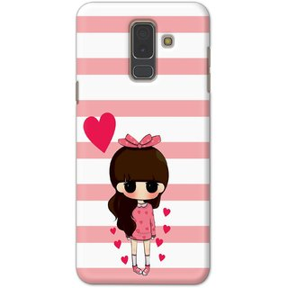 Ezellohub Printed Design Soft Silicon Mobile back cover for Samsung A6 Plus - girl heart