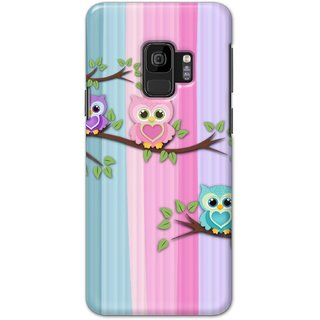 Ezellohub Printed Design Soft Silicon Mobile back cover for Samsung S9 - threee owl