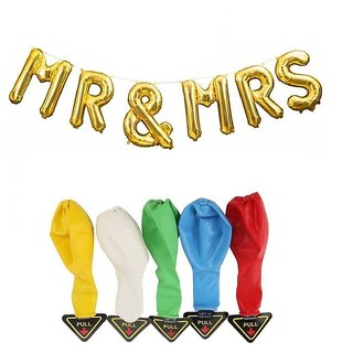 De-Ultimate Combo Of MR MRS Alphabets Foil Balloons 5 LED Flash Lights/Lamp Balloons For Anniversary Party Decorations