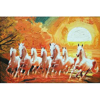 7 white horse painting    Sticker Paper Poster, 12x18 Inch
