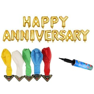 De-Ultimate Set Of HAPPY ANNIVERSARY Letters Foil Balloons 5 LED Lights Balloons Inflator Air Pump For Anniversary Party