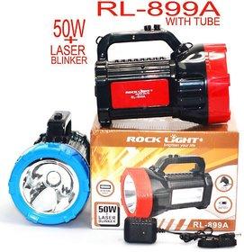 Rock Light RL-899A WaterProof 50 Watt LASER + Blinker + Two Tube Emergency Light With Heavy Battery Backup