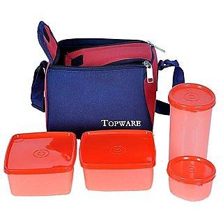 Topware Plastic Lunch Box Orange No. of Pieces 4 By Sita Enterprises