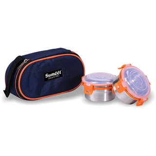 Sumeet Smart Tiffin With 2 Airtight Leak Proof Stainless Steel OMG Containers + Insulated Pouch