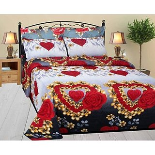 Red Polycotton Double Bedsheet With 2 Pillow Covers by BSB Trendz
