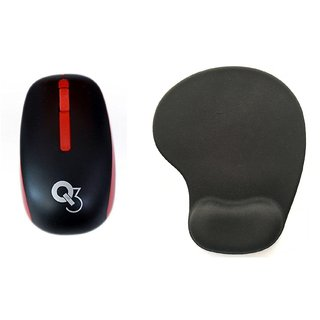 Q3 High Speed 2.4ghz Red Wireless Mouse Ergonomic Design Skin Sensation Mouse with Mousepad
