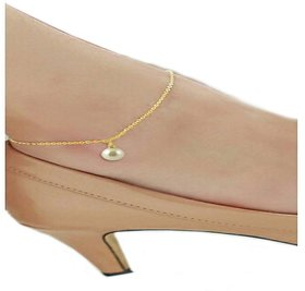 Ankur stunning gold plated pearl anklet for women
