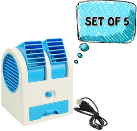 Mini Small Fan Cooler Cooling Portable Desktop Dual Bladeless Air Cooler USB pack of 5