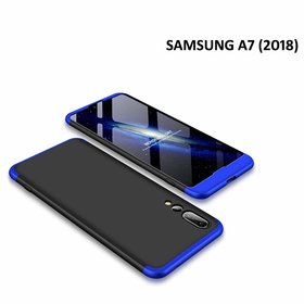 BRAND FUSON Samsung A7 2018 Front Back Case Cover Full Body 3-In-1 Slim Fit Complete 3D 360 Degree Protection Black Blue