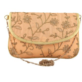 Women's Sequins Embroidered Fold over Clutch