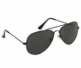 HH UV Protected Jet Black Aviator Sunglasses for Men Women