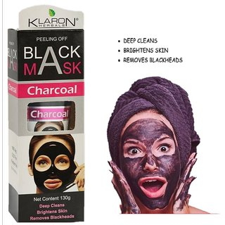 Klaron Herbals Charcoal Black Face Mask Blackhead Remover Skin Deep Clean  Peel Off Mask