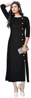 New Stylish Party Wear Rayon Fancy Plain  Solid Ready Made A-Line Kurtis For Women