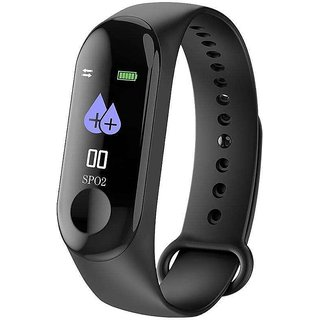 Lenkewi M3 Black Smart Band / Smart Bracelet with Blood Pressure, Heart Rate Monitoring  Water proof feature