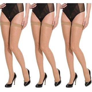 Tahiro Beige Skin Colour Cotton Micro Fiber Thigh Length Stocking - Pack Of 3