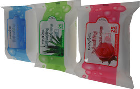 Mars Refreshing Facial Wipes Tissue Paper Export Quality Combo Offer Pack of 3