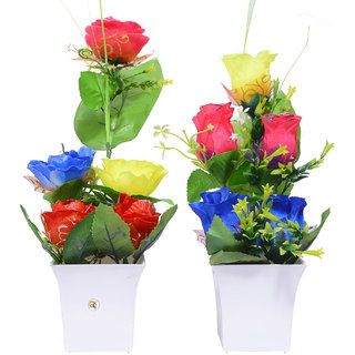Beautiful Multicolor Flower Pot For Home Decoration Set of 2