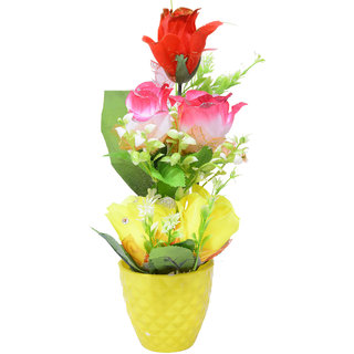 Beautiful Yellow Color Flower Pot For Home Decoration