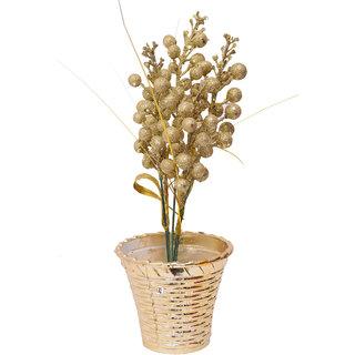 Golden Flower Slim Shape Flower Pot For Home Decoration & Gifting Purpose