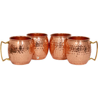 Hammered Copper Moscow Mule Cup - Set of 4