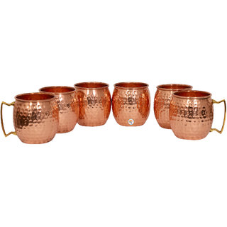 Hammered Copper Moscow Mule Cup - Set of 6