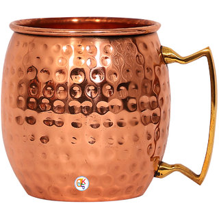 Pure Copper Hammered Moscow Mule Beer Mug Cup