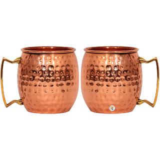 Pure Copper Hammered Beer Mug - Set of 2