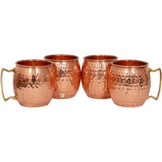 Pure Copper Hammered Beer Mug - Set of 4